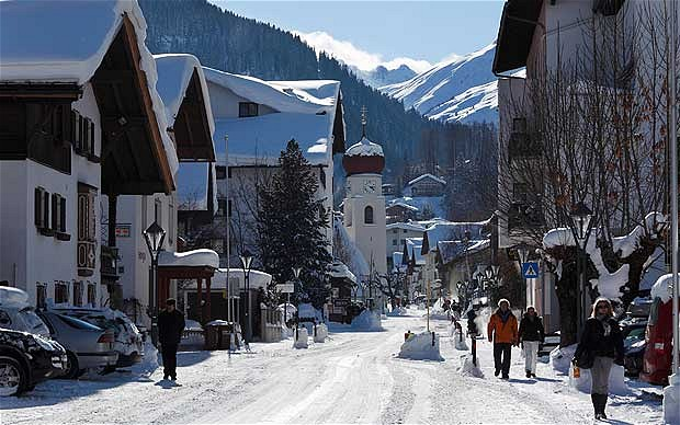 St.Anton Village centre, snow covered roads and buildings