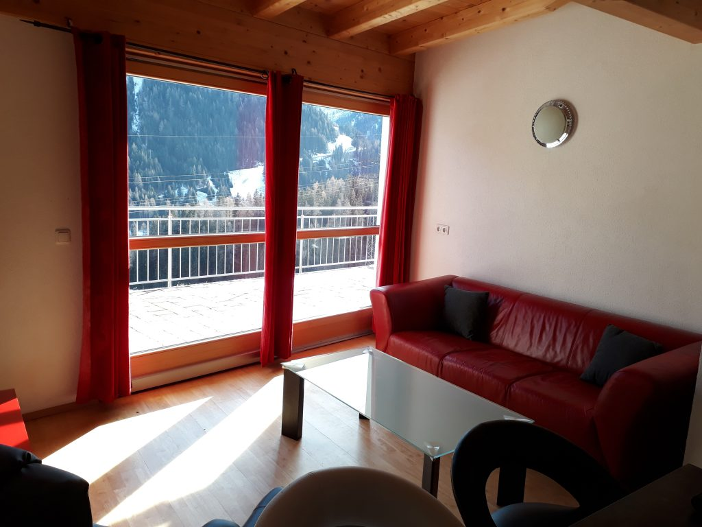 St.Anton 2 bedroom ski in apartment showing view to balcony from living area