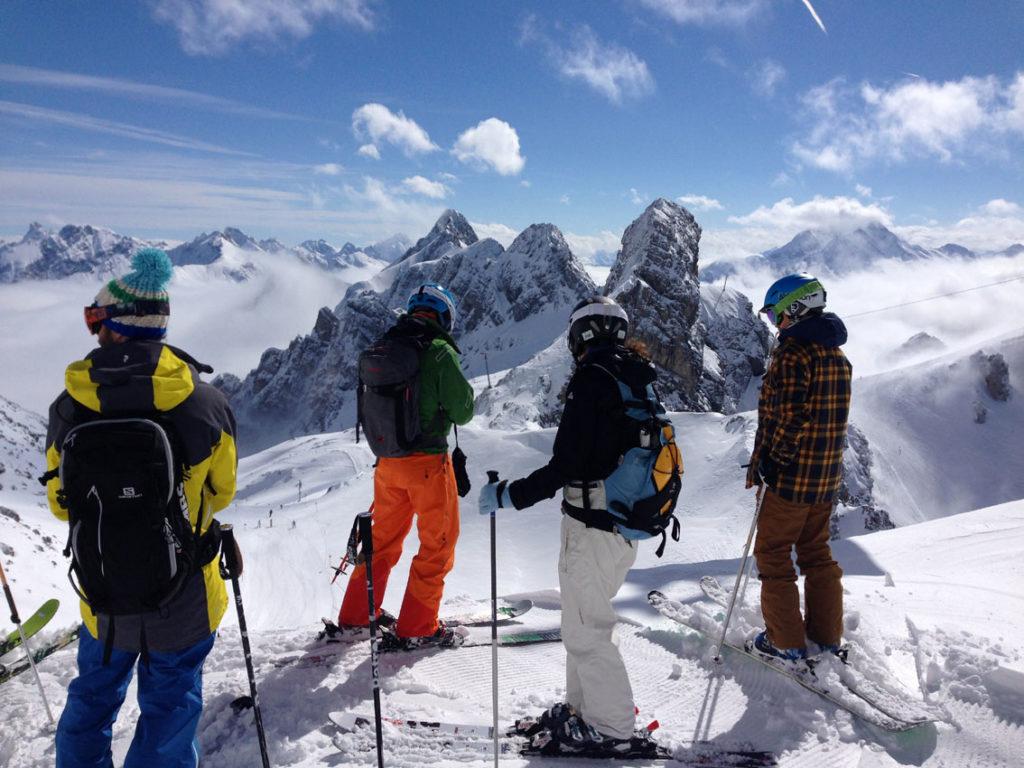 Skiers above St.Anton
